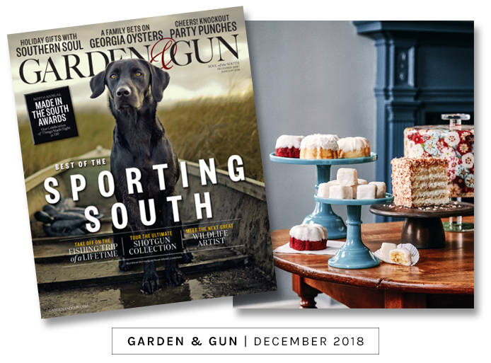 Garden & Gun magazine holiday gift guide featuring the Ultimate Coconut Cake mail order cake