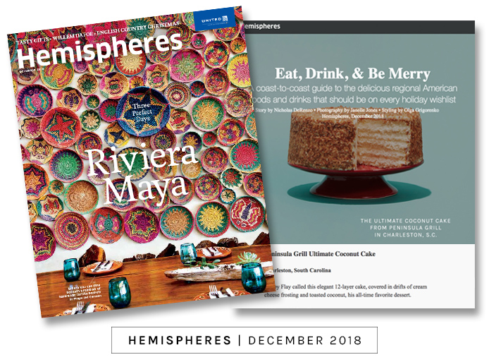 Hemispheres magazine holiday gift guide featuring the Ultimate Coconut Cake mail order cake